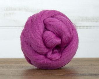 Magenta Merino Wool Top Fiber For Spinning Felting Weaving or Blending Board for Rolags