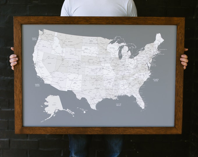 """Men's Gifts United States Push Pin Travel Wall 24"""" x 36 Wood Frame Map"""