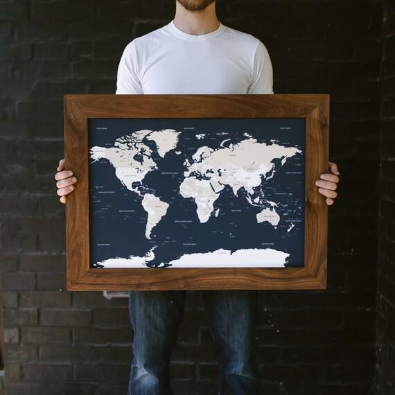 Small World Map Push Pin Map Framed World Map Travel Map Etsy - Small framed world map