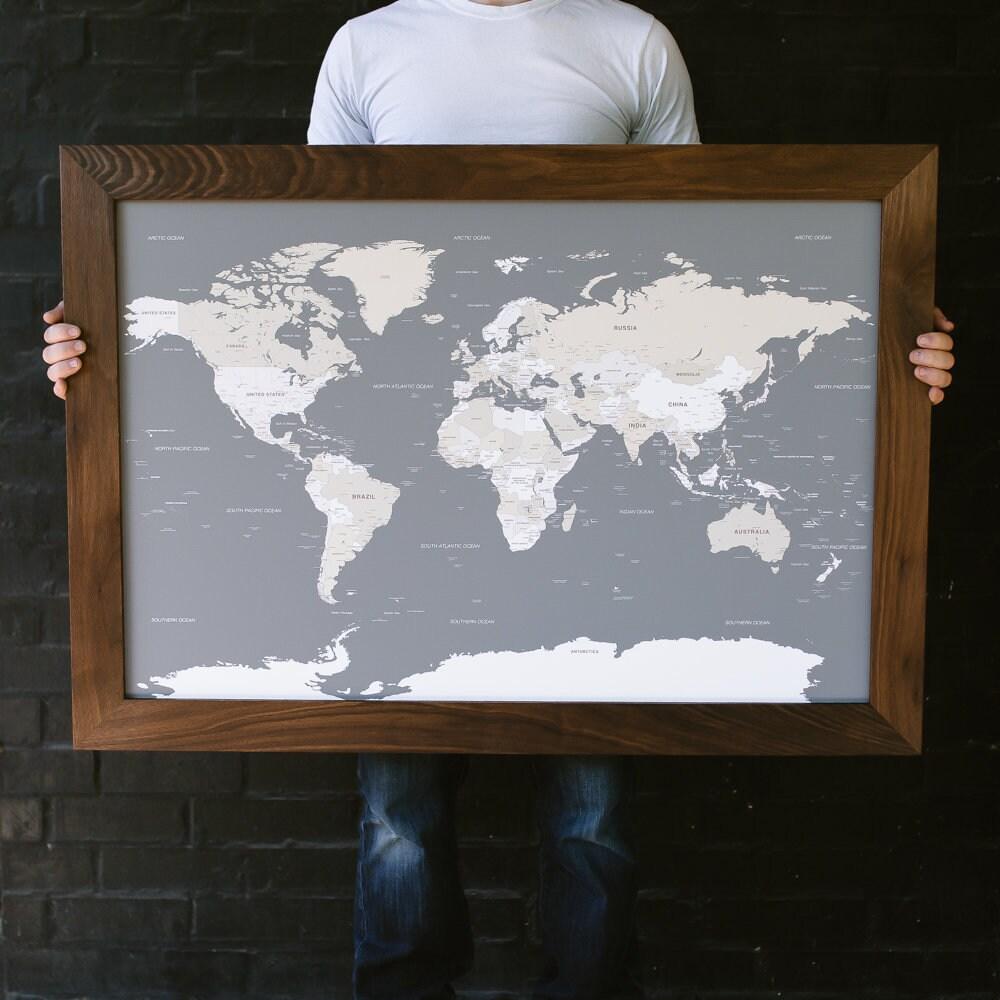 World Map, World Map Wall Art, Husband Gift, 1st Anniversary Gift, Newlywed Gift, 5th Anniversary Gift, Push Pin Map, World Map Push Pin
