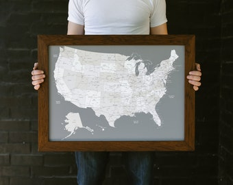 """Personalized Guy Gift, Gift For Him Push Pin Map United States with Pins 17""""x24 Framed"""