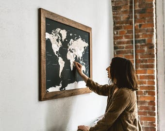 Push Pin Travel Map, World Map, Gift for Travelers, World Map Wedding, World Push Pin Map, Gifts for Boyfriend, Gift for Men, Fathers Day