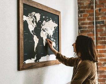 """World Map Push Pin Travel Wall Art with Pins Board 24"""" x 36 Wooden Frame"""