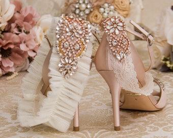 Ivory Lace Garter Set, Rose Gold Wedding Garter Set, Bridal garter Set, Rhinestone Garter, Ivory Garter, Crystal Garter
