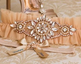 Rose Gold Wedding Garter Set, Champagne Bridal Garter Set, Champagne Tulle Garter, Tulle Wedding Garter Belt, Bridal Shower Gift