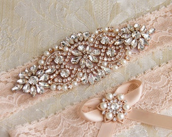 Rose Gold Wedding Garter Set, Bridal Garter Set, Blush Lace Wedding Garter, Crystal Garter Set, Blush Lace Garter Set