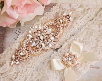 Rose Gold Wedding garter, Ivory Lace Bridal Garter Set, Lace Wedding Garter Set, Rose Gold Bridal Garter, Wedding Garter, Rose Gold Garter