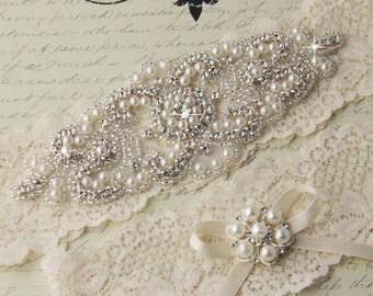 Ivory Lace Garter Set, Lace Wedding Garter set, Ivory Wedding Garter, Ivory Garter Set, Lace Bridal Garter Set, Personalized Garter