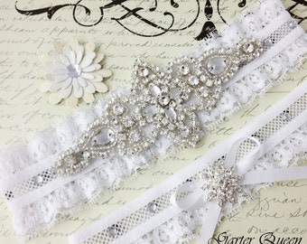 White Wedding Garter Set, Bridal Garter Set, Lace Wedding Garter, Lace Garter, Crystal Garter Set, Personalized Garter