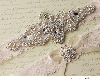 Ivory Lace Bridal Garter Set, Lace Wedding Garter, Personalized Garter, Ivory Lace Garter, Ivory Wedding Garter