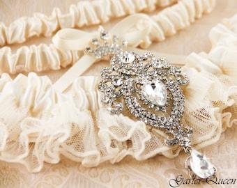 Wedding Garter Set, Ivory Lace Garter Set, Bridal Garter Set, Rhinestone Garter, Ivory Garter Set, White Garter Set