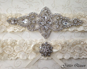 BEST SELLER Ivory Lace Garter Set, Wedding Garter Set, Bridal garter Set, Rhinestone Garter, Lace Wedding Garter