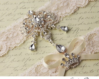Ivory Lace Garter Set, Wedding Garter Set, Bridal garter Set, Rhinestone Garter, Ivory Garter