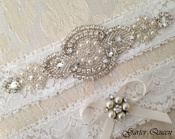 BEST SELLING  Off WHite Lace Garter Set, Wedding Garter Set, Bridal garter Set, Rhinestone Garter, Lace Wedding Garter, Ivory Garter Se