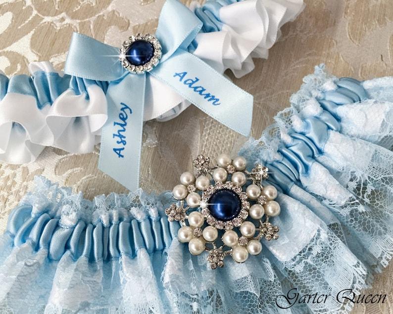 Wedding Garter Set with Blue lace Personalized Garter Lace Wedding Garter Something Blue Blue Lace Garter Set Wedding Accessories