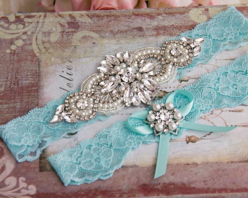 Aqua Blue Wedding Garter set Bridal Garter set Blue Lace Garter set Something Blue Crystal Garter set Rhinestone Garter Blue Garter