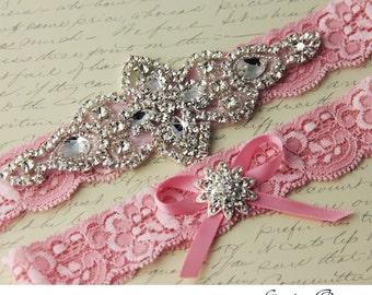 Pink wedding garter, bridal garter Set, Stretch Lace garter, Rhinestone garter, Pink Lace Garter
