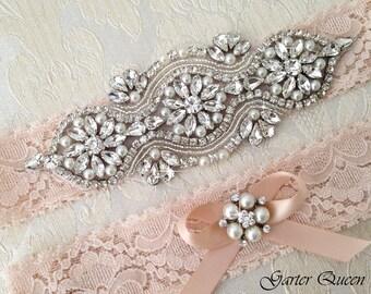 EXCLUSIVE Lace Garter Set, Blush Wedding Garter Set, Bridal garter Set, Rhinestone Garter, Lace Wedding Garter, Personalized Garters