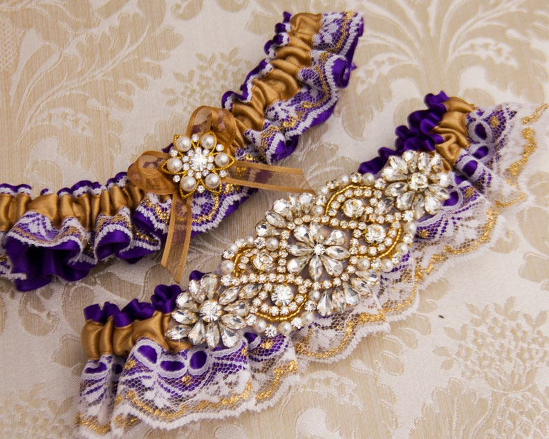 Gold Wedding Garter Set Purple Wedding Garter Gold Bridal Garter Set Rhinestone Garter Gold Garter