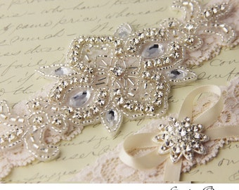 Wedding garter set, Ivory Lace Bridal Garter set, Lace Wedding Garter, Ivory Lace Garter Set, Rhinestone Garter Set, Personalized Garter Set