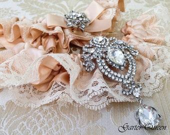 Bridal garter set, Blush Wedding Garter set, Ivory Lace Garter, Lace Wedding Garter, Ivory Garter Set