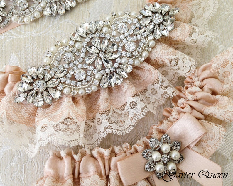 Wedding Garter Set Rhinestone Garter Ivory Lace Garter Set Blush Wedding Garter Set Lace Wedding Garter Bridal garter Set