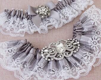 Bridal garter set, Gray Wedding Garter set, Gray Lace Garter, Lace Wedding Garter, Gray Garter Set