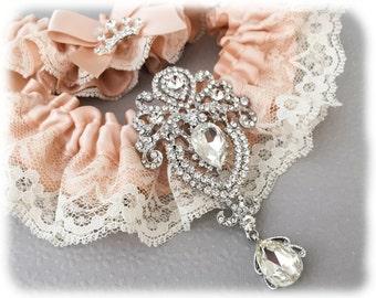 Blush Garter Set, Blush Bridal Garter Set, Lace Garter Set, Ivory Lace Wedding Garter Set, Blush Wedding Garter