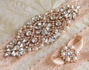 Blush Lace Bridal Garter Set, Lace Wedding Garter Set, Rose Gold Bridal Garter, Wedding Garter, Rose Gold Garter, Rhinestone  Garter