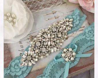Bridal garter set, SOMETHING BLUE Wedding Garter set, Aqua Blue Garter, Lace Wedding garter