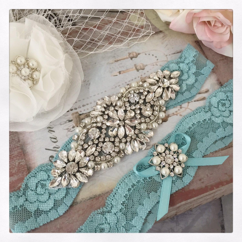 Bridal Garter Set SOMETHING BLUE Wedding Garter Set Aqua