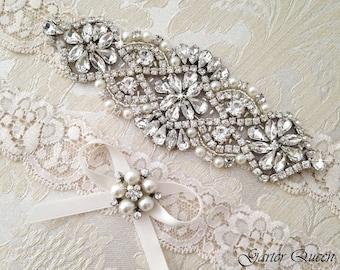 Wedding Garter Set, Ivory Lace Garter Set,  Bridal arter Set, Rhinestone Garter, Lace Wedding Garter, Crystal Garter