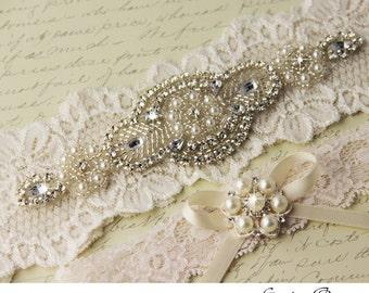 Ivory Lace Garter Set, Wedding Garter Set, Bridal garter Set, Rhinestone Garter, Lace Wedding Garter