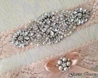 Blush Lace Garter Set, Lace Wedding Garter Set, Bridal garter Set, Crystal Garter, Blush Lace Garter, Blush Wedding Garter
