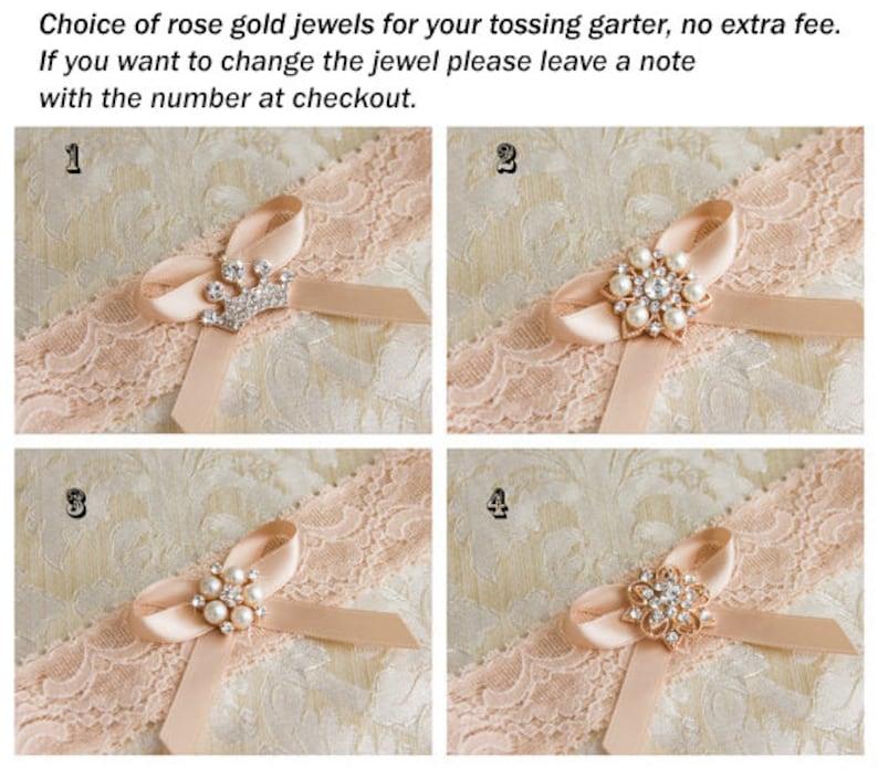 Crystal Garter Set White Lace Wedding Garter Bridal Garter Set Rose Gold Wedding Garter Set Ivory Lace Garter Set