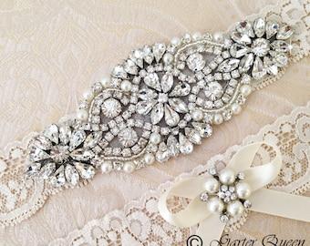 Wedding Garter set, Bridal Garter set, Ivory Lace Garter set, Rhinestone Garter, Ivory Garter, Lace garter, Crystal Garter set