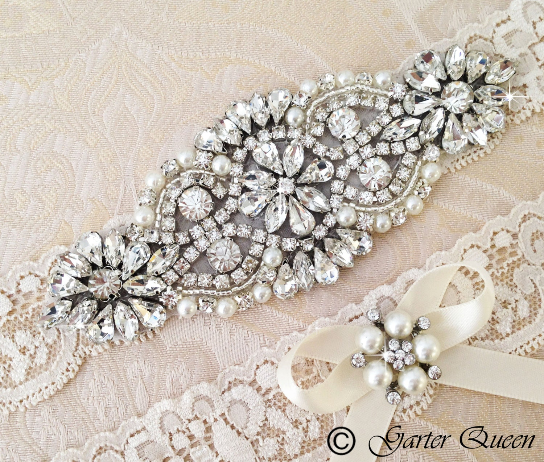Personalized Wedding Garter Sets: Ivory Lace Garter Set Wedding Garter Bridal Garter Set