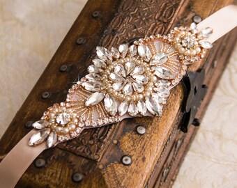 Wedding Bracelet, Rose Gold Bridal bracelet, Bridal Crystal Bracelet, Rose Gold Wedding Bracelet, Cuff Bracelet, Rose Gold Crystal Bracelet