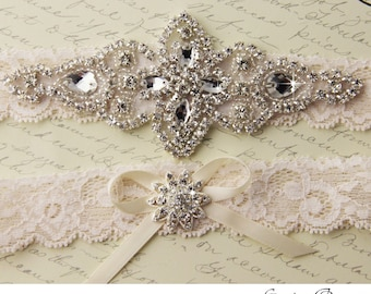 Ivory Lace Garter Set, Lace Wedding Garter set, Rhinestone Garter, Ivory Garter Set, Lace Bridal Garter Set, Personalized Garter