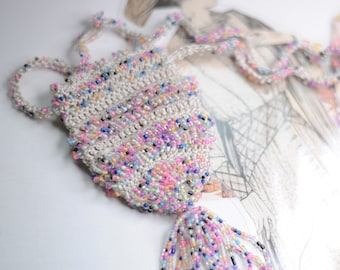 Vintage-Inspired Bead Crochet Amulet Bag Necklace - Downton Abbey