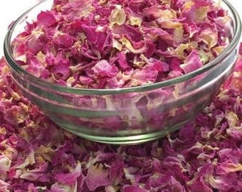 EDIBLE ROSE PETALS Organic Premium, 1-10 Cups, Culinary Bulk Loose Dried Pink Red Vegan