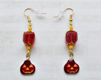 Jack o Lantern Earrings - Pumpkin Earrings - Halloween Jewelry - Autumn Earrings