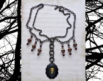Edgar Allan Poe Necklace - Gothic Statement Necklace - Vintage 2028 Gunmetal Choker with Deep Red Czech Glass Beads