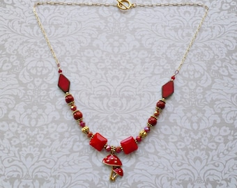 Red Mushroom Necklace - Amanita Muscaria Necklace - Fly Agaric Necklace