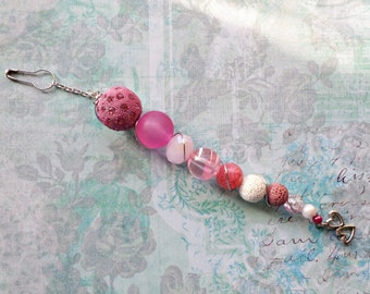 Pink and White Beaded Junk Journal Dangle - Beadsicle Valentine's Day Embellishment - Beaded Planner Dangle - Romance Journal Embellishment