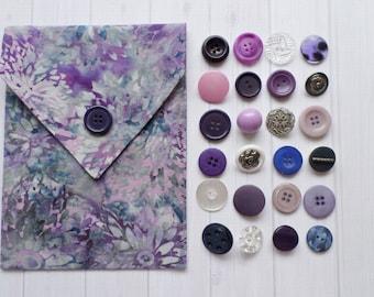 Purple Batik Tarot BAG with Your Choice Vintage Button