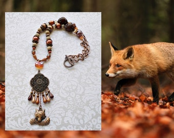 Fox Necklace with Beads - Fall Statement Necklace with Wood, Glass and Acrylic Beads