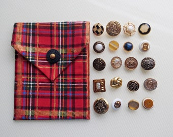 Tartan Tarot Bag - Tarot Wallet with YOUR CHOICE of Liner Fabric AND Vintage Button