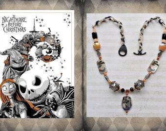 Nightmare Before Christmas Necklace - Jack Skellington Halloween Necklace - Orange and Black Goth Necklace