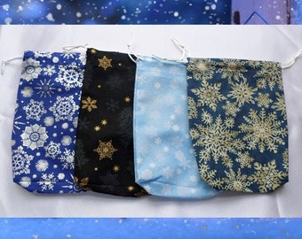 Snowflake Tarot Bag - Winter Tarot Pouch - Yule Bag - Crystal, Runes and Divination Charms Pouch - Snowland Deck